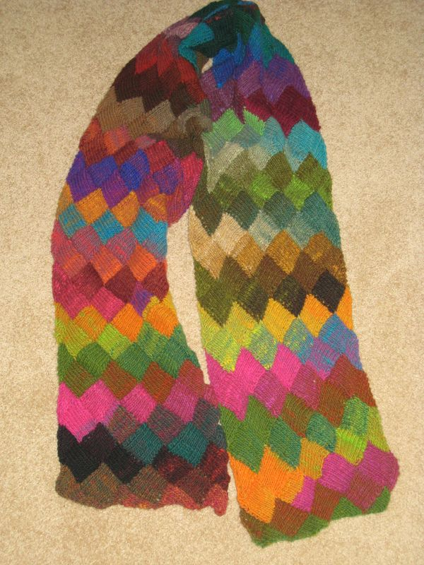 Knitting Project Entrelac Scarf Tree Swing Reading